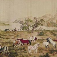 "Pittura cinese ""One hundred horses"" (cento cavalli)"