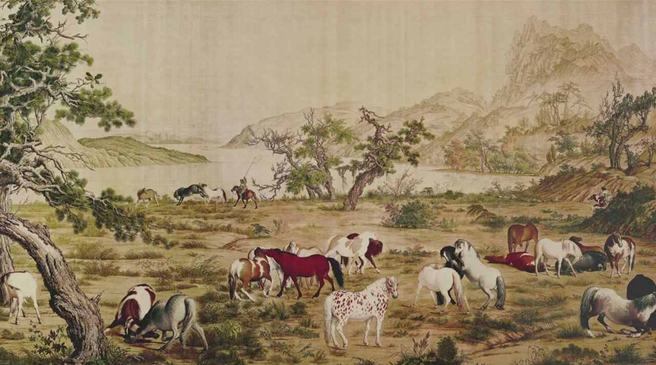 "Pittura cinese ""One hundred horses"" (cento cavalli)"
