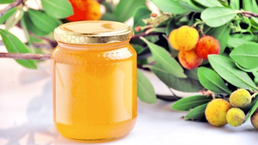 Miele di corbezzolo in vasetto, insieme ai frutti del corbezzolo.