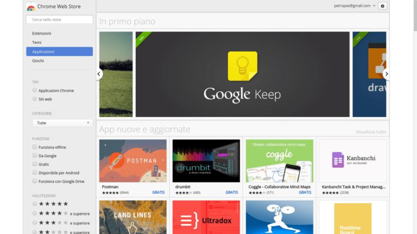 Chromebook: il Web Store