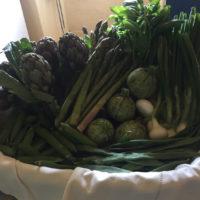 Verde Primavera: cesto di stagione con carciofi, asparagi, zucchine, piselli e così via.