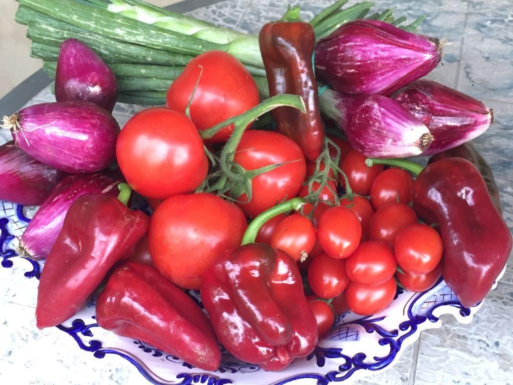 Rosso - I colori in cucina - Cesto di ortaggi rossi (pomodori, peperoni)